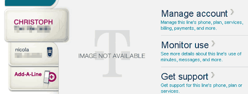 T-Mobile's default page in Firefox, post login