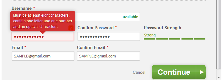 Duke Energy Form: password feedback mixed messages