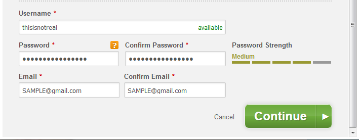 Duke Energy form: a valid password, rated moderately strong