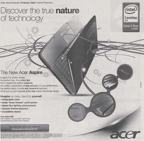 Acer Aspire Advertisement from The Wall Street Journal